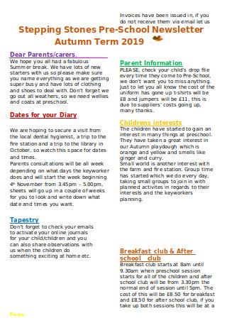 Preschool Newsletter Autumn Term