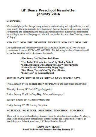 Preschool Newsletter January