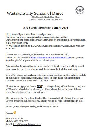 Preschool Term Newsletter