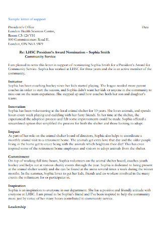 President's Award Nomination Letter of Support
