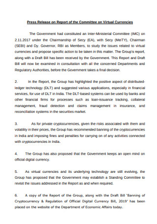 Press Release on Committee Report
