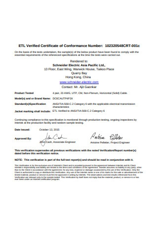 Printable Certificate of Conformance Format