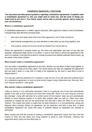 Printable Cohabitation Agreements
