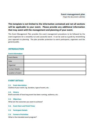 Printable Event Management Plan