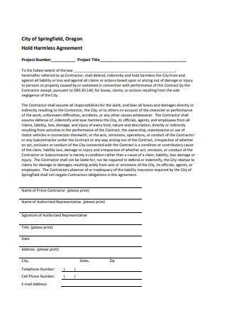 Printable Hold Harmless Agreement
