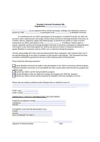 Printable Permission Slip Format