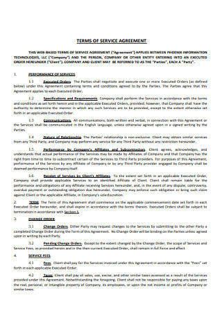 Printable Terms of Service Agreement