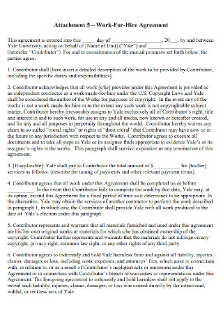 Printable Work for Hire Agreement