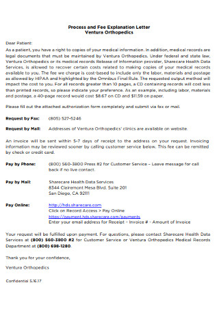 Process and Fee Explanation Letter