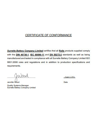 Product Certificate of Conformance Sample