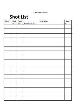 Production Shot List