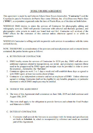 Professinal Work for Hire Agreement