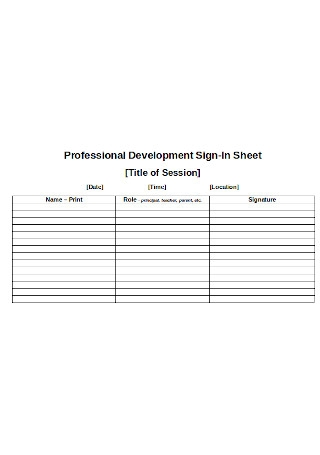 Professional Development Sign In Sheet