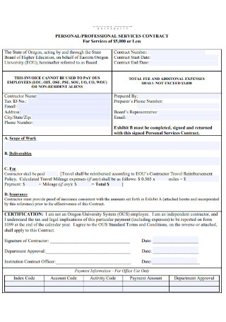 Professional Personal Service of Contract Template