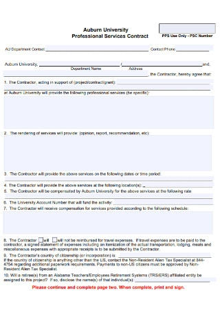Professional Services Contract