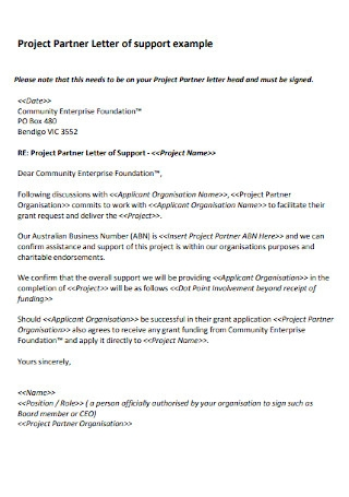 Project Partner Letter of support example