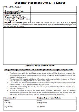 Project Verification Form