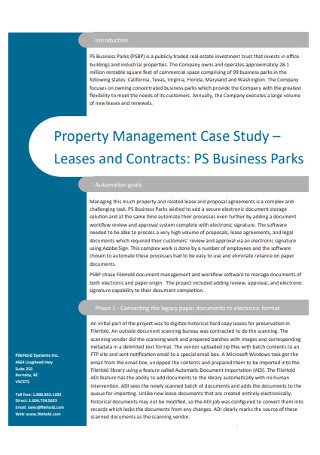 Property Management Case Study Leases and Contracts