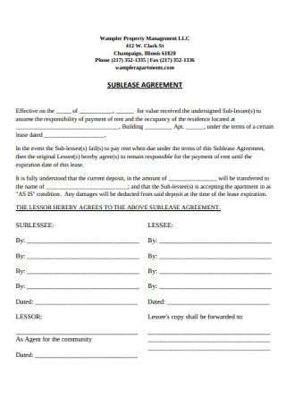 Property Sublease Management Agreement