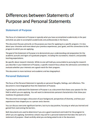 Purpose and Personal Statements