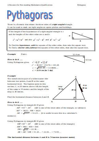 Pythagoras Formula Worksheet
