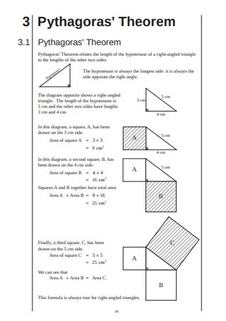 Pythagoras Theorem Template