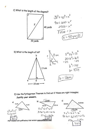 Pythagorean Theorem Assignment
