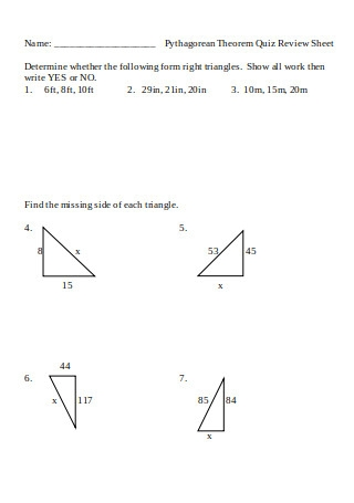 Pythagorean Theorem Quiz Review Sheet