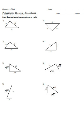 Pythagorean Theorem Sample Worksheet