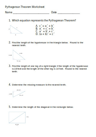 Pythagorean Theorem Worksheet Example