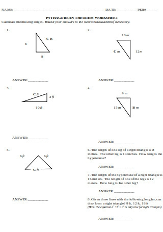Pythagorean Theorem Worksheet Format