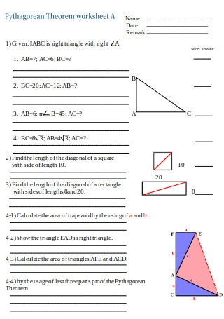 Pythagorean Theorem Worksheet Template