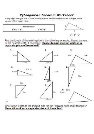 40 Sample Pythagorean Theorem Worksheet Templates In Pdf Ms Word