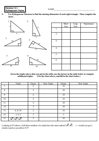 Pythagorean Triples Worksheet