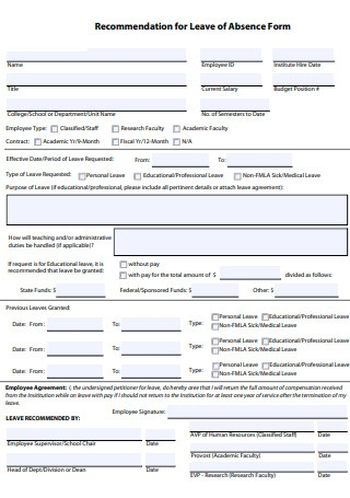 Recommendation for Leave of Absence Form