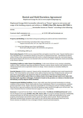 Rental Hold Harmless Agreement Format