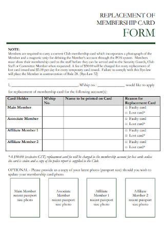 Replacement Membership Card Template