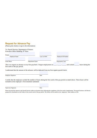 Request for Advance Pay Receipt