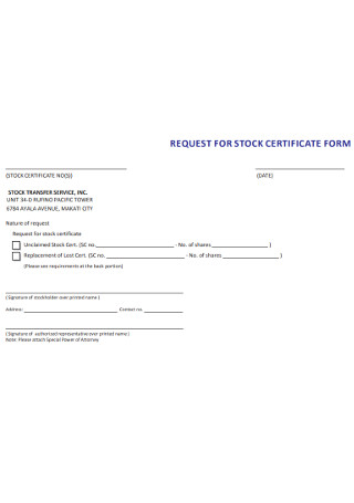 Request for Stock Certificate Form