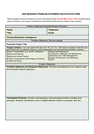Research Problem Statement Solicitation Form