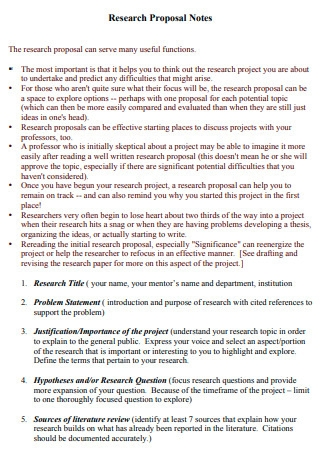 Research Proposal Notes