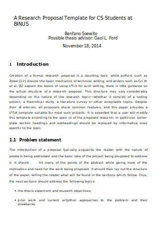 Research Proposal Template for CS Students