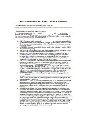 Residential Real Property Lease Agreement Sample