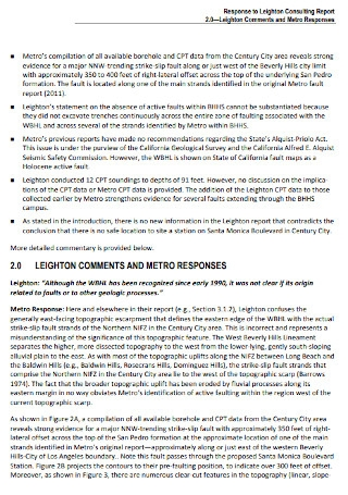 Response to Leighton Consulting Report