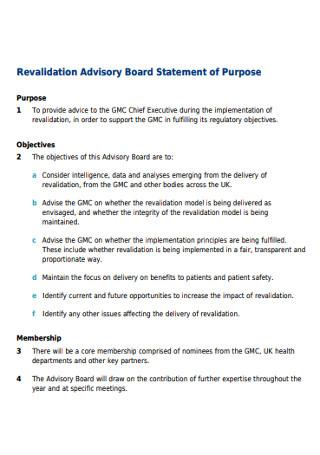 Revalidation Advisory Board Statement of Purpose