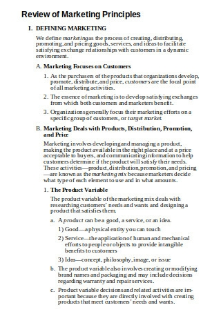 Review of Marketing Principles