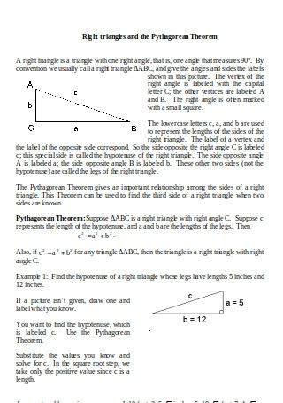 Right triangles and Pythagorean Theorem