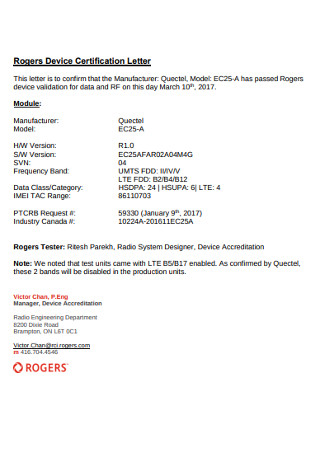 Rogers Device Certification Letter
