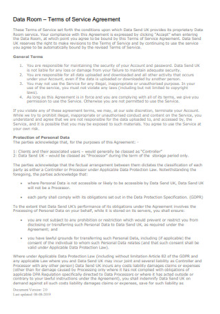 Room Terms of Service Agreement
