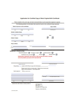 Sample Birth Certificate Application Example